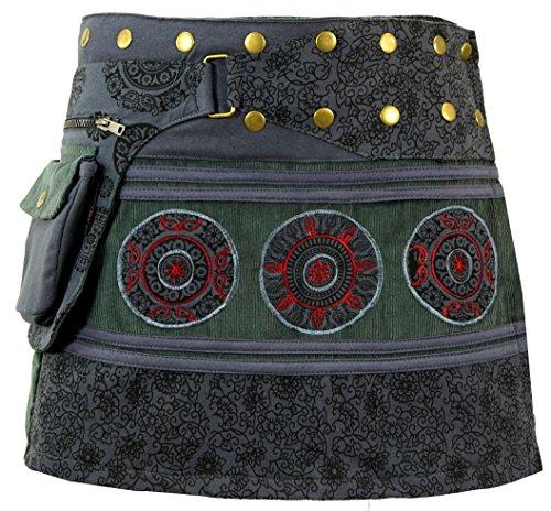 Guru-Shop Cord Wickelrock, Minirock, Kurzer Goa Rock, Cacheur Lang, Damen, Schwarz/grau, Baumwolle, Size:One Size, Cacheure, Hüftschmeichler Alternative Bekleidung -