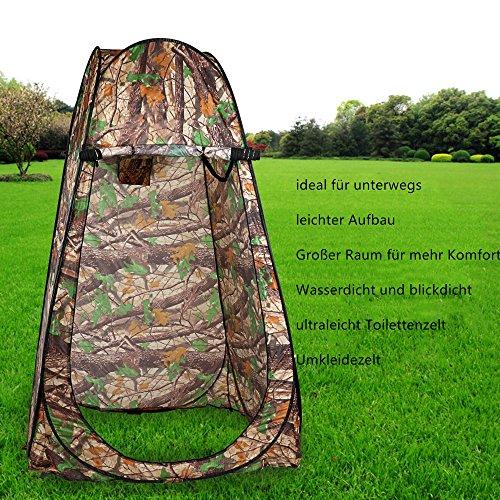 Outdoor ultraleicht Pop Up Zelt Duschzelt Trekkingszelt Schnell-Trocken, Qulista Campingtoilette Toilettenzelte für unterwegs privat blickdicht inklusive Tasche (Camouflage 3)