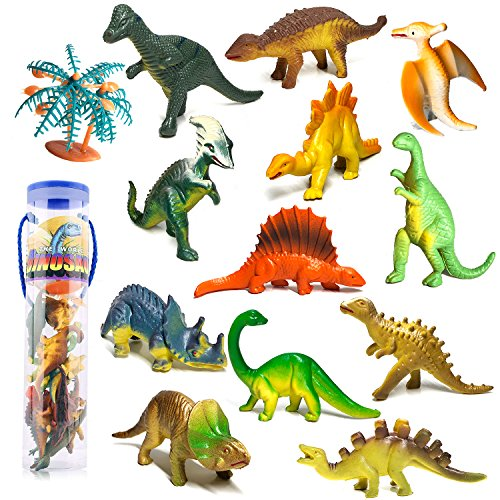 ier Figuren Set Pädagogisches Realistische Dinos Spielzeug Kunststoff Modell für Kinder, 12ST ()