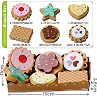 Bee Smart - Wooden Toy Biscuits Pretend Play Food With Selection Card and Sturdy Cardboard Serving Tray