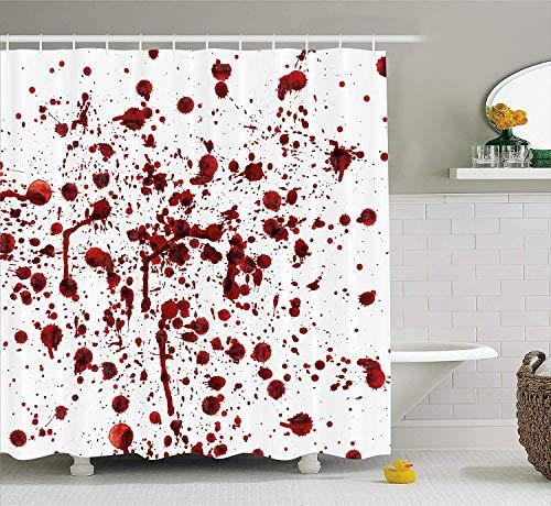 FANGCAO, Blutige Duschvorhang Spritzer von Blut Blutfleck Horror beängstigend Zombie Halloween unter dem Motto Print Stoff Badezimmer Dekor mit Haken (Size : 180X200CM)