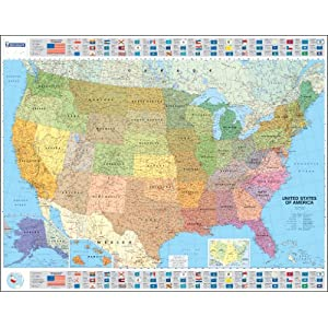 Mapa plastificado U.S.A. Político (Mapas en tubo y plastificados Michelin)