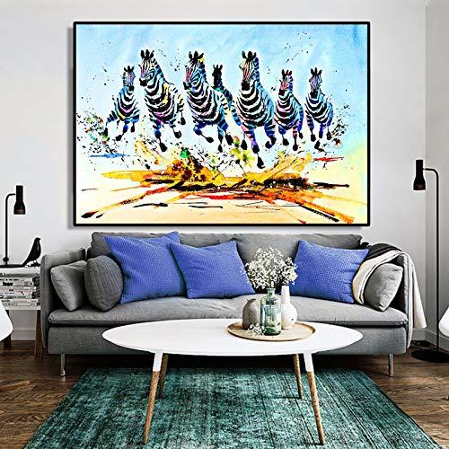 Abstrakte Aquarell Tier Ölgemälde Poster und Drucke Wandkunst Leinwand Malerei Laufen Zebras Bilder für Wohnzimmer Decor-in Malerei Kein Rahmen 30x45 cm