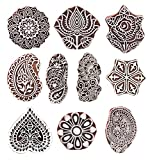#4: Hashcart (Set of 10) Mughal Design Wooden Printing Stamp Block Hand-Carved for Saree Border Making Pottery Crafts Textile Printing
