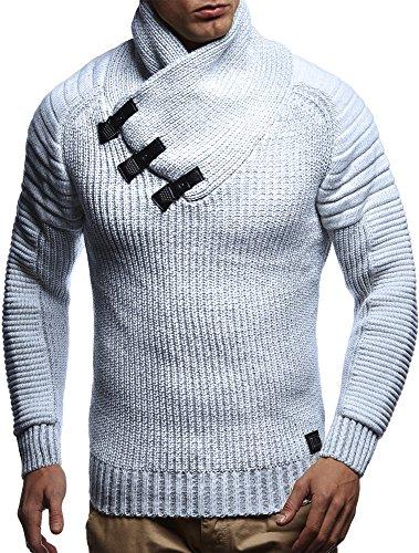 LEIF NELSON Herren Pullover Hoodie Strickpullover Sweater Sweatshirt Gesteppt Biker-Style Schalkragen LN5225; Gr_¤e M, Ecru-Grau