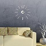 Ceanfly DIY 3D Wanduhr Modern Design Acryl Wanduhren Spiegel Metall Rahmenlose Wandaufkleber groß Uhren Style Raum Home Dekoration Fürs Wohnzimmer Kinderzimmer Durchmesser 60cm
