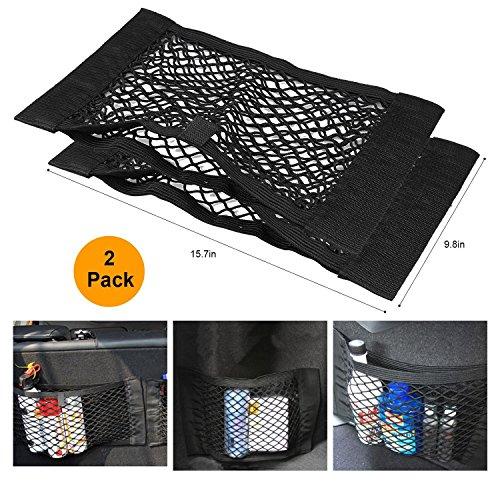 Kofferraum-Aufbewahrungsnetz, Wommty 2er-Pack Schwarzmagische Adhesive-Aufbewahrungsnetz Elastische String-Net-Mesh-Aufbewahrungstasche für Flaschen, Lebensmittel, Lagerung Add On Organizers für Auto-LKW