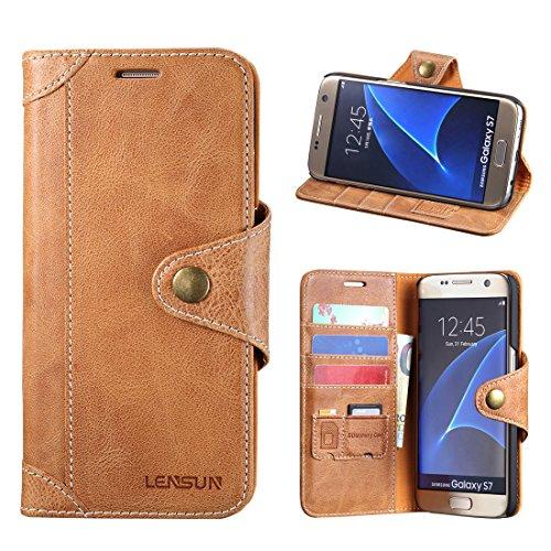 Samsung Galaxy S7 Hülle, Lensun Handyhülle Handytasche Samsung Galaxy s7 (5.1 Zoll) Leder Tasche Huelle Flip Case Ledertasche Schutzhülle - Braun (S7-GT-BN)