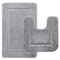 LOCHAS Soft Bath Mat Set, Includes 50X50cm Super Absorbent Toilet Mat and 53X86cm Microfiber Soft Shaggy Bathroom Rug, Non Slip Mats Carpet Machine Washable ...