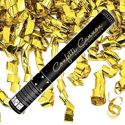 10x XXL Konfetti-Shooter Luftschlangen Shooter Party Popper Goldfarbene Folienstreifen Konfetti Kanone Länge XXL 60 cm ! Hochzeit. Von Haus der Herzen.