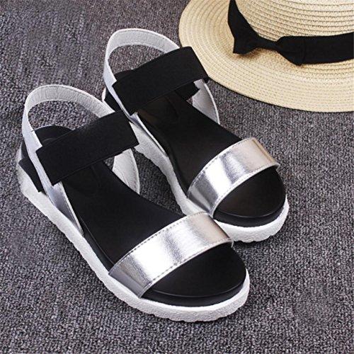 LHWY Damen Sandalen Schuhe Peep-Toe Low shoes Roman Sandalen Ladies Flip Flops Silver