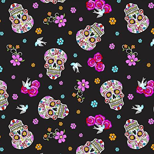 Totenkopf Stoff-DT19-Skulls Day Of The Dead Glitzer-von 0,5Meter-100% Baumwolle -