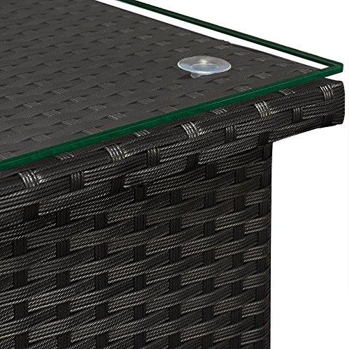 Polyrattan Tisch Beistelltisch Rattan Teetisch Gartentisch Glasplatte 50x50x45cm schwarz Garten Möbel - 2