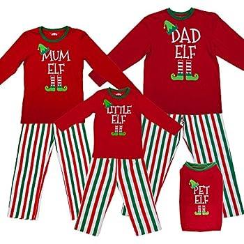 f756b27362d8 Red Elf Pyjamas Christmas Family PJs - Dad Elf Mum Elf   Little Elf ...