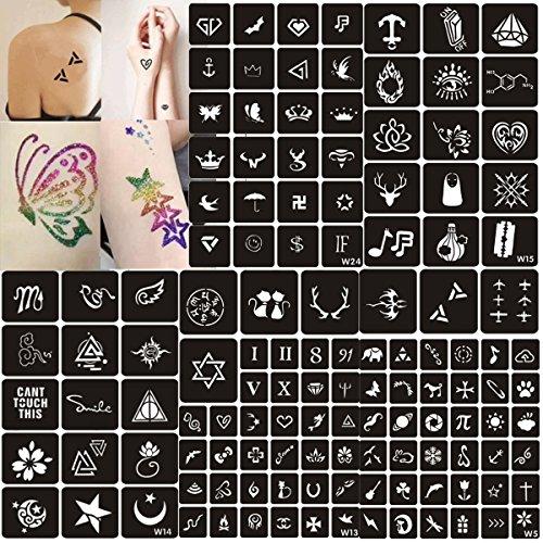 Glitzer Tattoo Schablonen, 129Blatt SELBSTKLEBENDE Schablonen Vorlage Einzigartige Motivschablonen Kit für Glitter Tattoo Body Art Design