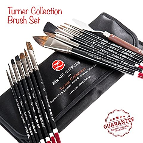 Professional Artist Brushes for Watercolour, Gouache & Fluid Acrylics - Squirrel Blend & Japanese Synthetic - Short Handle, Long-Lasting with Elegant Rollup Case - 14-pcs Turner Collection by ZenArt