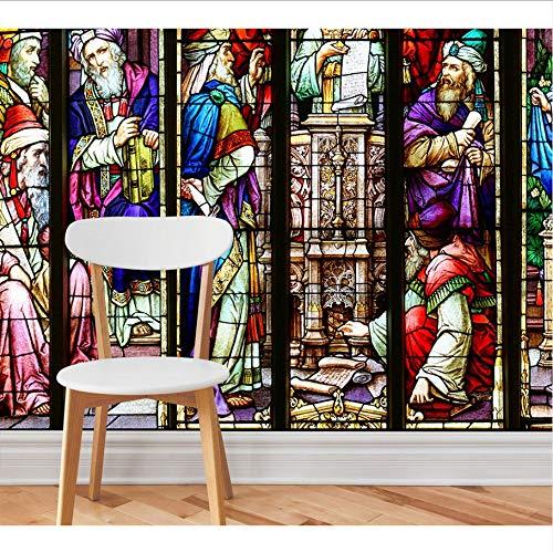 Weaeo Benutzerdefinierte Tapete Hd High Definition Mysteriöse Kirche Glasmalerei Wandbild Design-Tapete-350X250Cm -