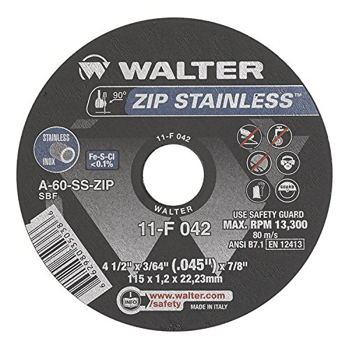 Walter Oberfläche Technologien 11, englischsprachig Zip Edelstahl Trennscheibe, schwarz (25Stück)