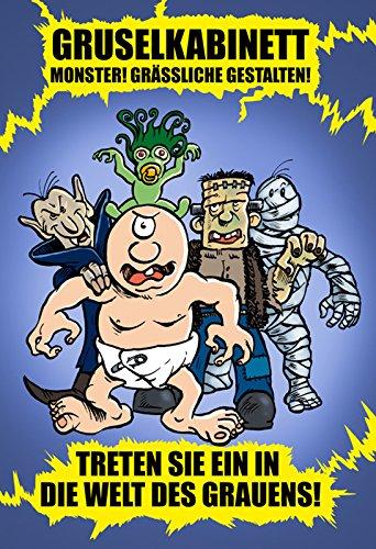 """""""Gruselkabinett. Monster! Grässliche Gestalten!"""" - Blechschild, funschild, lustig, comic, Barschild, monster, vampir, frankenstein, mumien, cyclops,"""