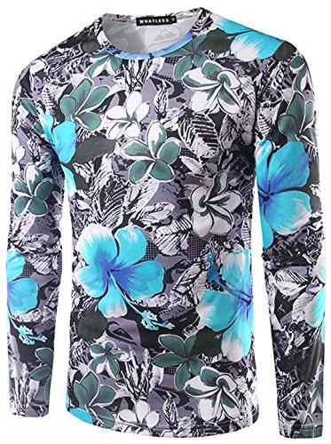 Oliven-armee Pullover-sweatshirt (Whatlees Männer-T-Shirt mit langen Hülse modischen Blumen Mode Silhouette lässig Geschenk Frühling und Herbst Spitzen)