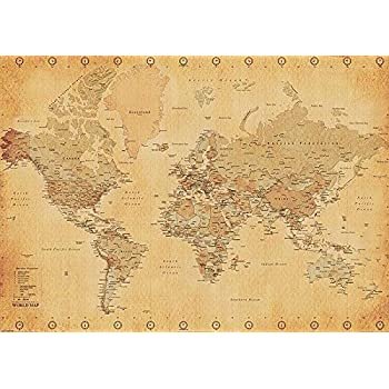 weltkarte xxl poster world map vintage style poster riesenformat. Black Bedroom Furniture Sets. Home Design Ideas