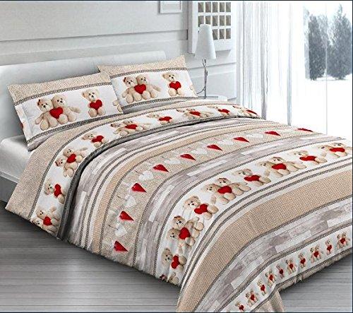 Smartsupershop Housse de Couette avec taies d'oreiller pour lit – Ourson – Y Compris sous avec Coins en coordonné – Cœurs Rouges en Coton fabriqué en Italie