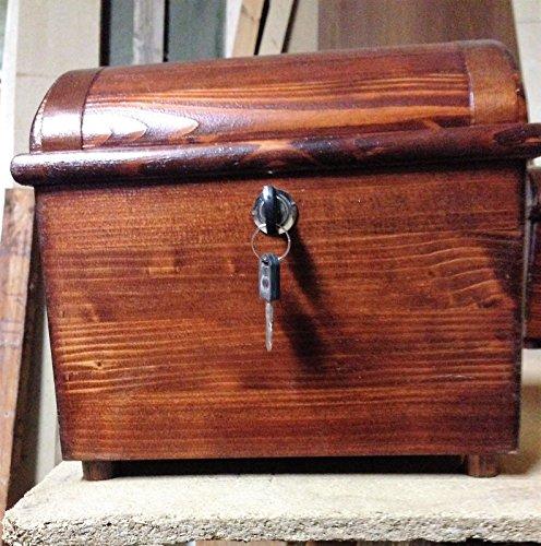 Bauletto bombato in Legno con serratura e chiave, colori Noce Scuro, Noce  Chiaro, Rovere, Quercia