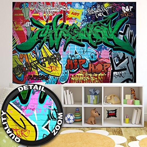 Fototapete Street Style Wandbild Dekoration Graffiti Art Writing Pop Art Schriftzüge Wall Painting Mauer Urban Abstract Comic | Foto-Tapete Wandtapete Fotoposter Wanddeko by GREAT ART (210x140 cm)