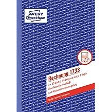 Avery Zweckform 1733 Rechnung Kleinunternehmer (A5, selbstdurchschreibend, 2x40 Blatt) weiß/gelb