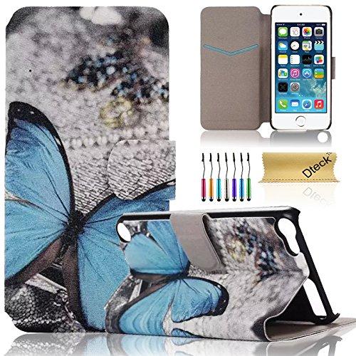 iPod Touch 5/6Fall, dteck (TM) Süßes PU-Leder Ständer Wallet Magnet Case [Karten/Geld Halter] Flip Zusammenklappbar für Apple iPod Touch 5. 6. Gen 10,2cm, 2 Blue Butterfly