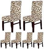 ALPHA DIMA 6 pezzi Coprisedie con Schienale,Elasticizzato Copertura Della Sedia Bi-elastico,Modern Decorativo Protezione in Stretch in Tessuto con Banda Elastica per una Misura Universale,Facile da Pulire e di Lunga Durata(ChampagneCoffee)