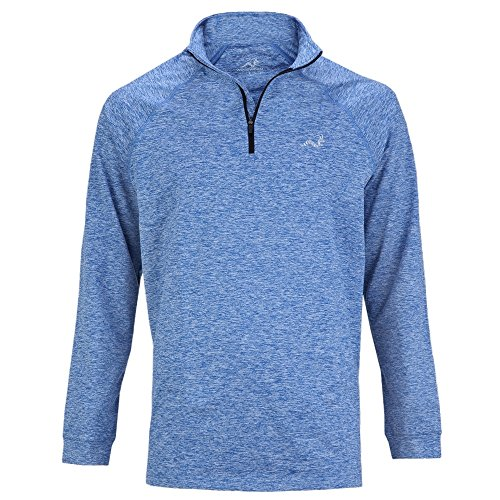 Woodworm Golf ¼ Zip Heather Pullover / Sweater / Jumper Blue L