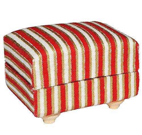 Preisvergleich Produktbild Miniatur Couch Hocker / Sofa Hocker - für Puppenstube Maßstab 1:12 - rot weiß golden - gestreift - Puppenhaus Puppenhausmöbel Sofasessel Wohnzimmer Klein - für Wohnzimmerlandschaft - Puppensofa - Möbel Wohnlandschaft - Miniatur Diorama