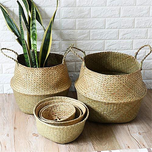 CYGGL Handgemachte Faltbare natürliche Seegras Körbe Wäsche Kleidung Lagerung Wicker Rattan gewebt Stroh Bambus Spielzeug Blumentopf Pflanze Korb,S -