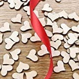 WINOMO 100 Stück Deko Herz Streudeko Hochzeitsdekoration Konfetti Herz aus Holz - 7
