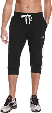 Sykooria Mens 3/4 Joggers Shorts Casual Gym Running Workout Shorts Pants Cotton Sportswear Trousers with Pockets