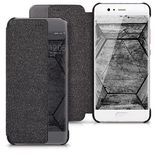 Kwmobile cover per huawei p10 - custodia protettiva a libro per cellulare - protezione con finestra di visualizzazione flip case nero