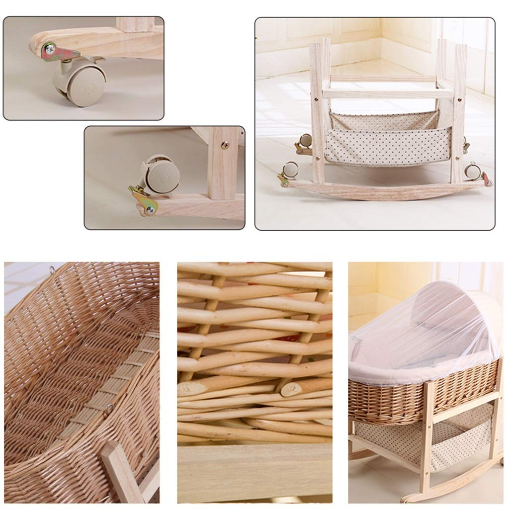 It Can Move Baby Cot, Multifunction Portable Cradle Portable Car Load Baby Travel Bed, 60 * 90CM (Size : 90 * 60CM) Zhao ♥ Product Name: Removable Baby Crib// Size: 60*90CM//Material: Wood; ♥Characteristics: Sturdy detachable beam, can be pushed and pushed double mode, mosquito net and sunshade, lower storage pocket, high quality colored cotton comfortable mattress, soft and smooth, giving baby comfort and enjoyment; ♥Bionic uterus design, give your baby enough safety, let the baby sleep sweetly; 6