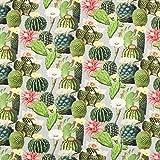 Fabulous Fabrics Halbpanama Kaktus Mix – grau/grün — Meterware ab 0,5m — zum Nähen von Outdoor-Deko, Kissen und Tagesdecken und Tischdekorationen