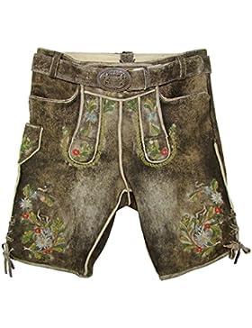 Maddox Kurze Herren Lederhose Benjamin mit Edelweiß - Speckig Tabak - Trachten Hose mit Stickereien