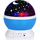 YAQOOT Night Light for Kids, Moon Star Projector - 4 LED Bulbs 8 Light Color Changing with USB Cable, 360 Degree Rotation, Ro
