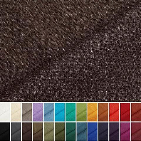 Holmar - Tissu en lin - Au mètre - Pré lavé - 20 couleurs - Chocolat foncé