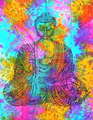 shivansh Creations Baumwolle Hippie-Mandala Wandbehang Bohemian Überwurf Decor Badspread tapesteries Pre Weihnachten Designer Collection Verkauf (Buddha Multi Farbe)
