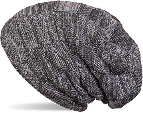styleBREAKER Bonnet tricoté Checked Beanie en laine fine chaude avec un motif tressé et une doublure intérieure polaire très douce, unisexe 04024090 Gris