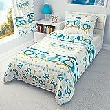 garçons filles Housse de couette et taie d'oreiller pour lit enfant/lit pour enfant–Bleu Hiboux, Coton, bleu, 90x120 cm