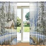 ALAZA Winter-Landschaftsmalerei Weihnachten Printed Sheer Fenster und Tür-Vorhang 2 Panels 55