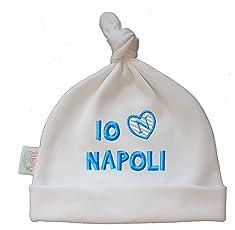Zigozago - Babymütze mit Knoten. Er Hat die Stickerei IO Amo Napoli - Größe 0-6 Monate