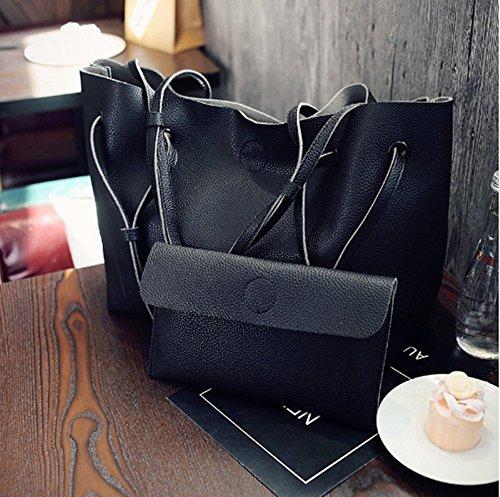 Swallow Borsa a tracolla delle donne, borse del sacchetto della madre dell'unità di elaborazione di svago di colore solido Nero
