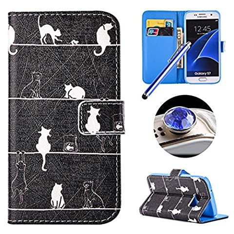 Etsue Leather Wallet Case for Samsung Galaxy S7,Cute Stylish[White Cat]Pu Leather Magnetic Closure Flip Case Cover with Credit Card Holder+[1XBlue Stylus Pen]+[1XBling Glitter Diamond Dust Plug]for Samsung Galaxy S7 -White Cat