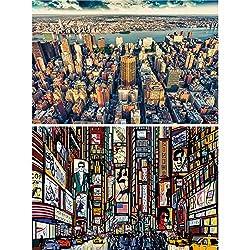 Great Art 2er Set XXL Poster New York Wandbild Dekoration Skyline & Zeichnung Set - Bild Wallpaper Foto-Poster Wanddeko Wand-Poster (140 x 100cm)